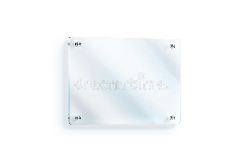 Blank Glass Sign Plate Wall Mounted Mockup Clipping Path Stock