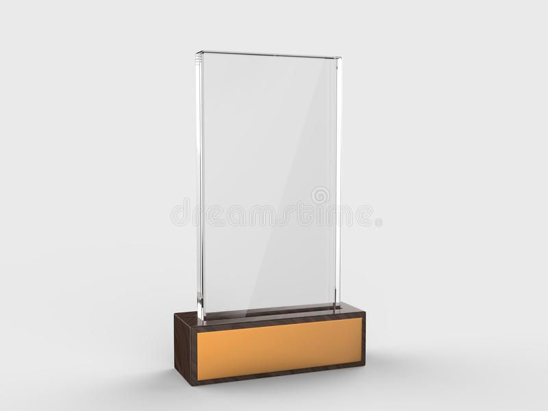 Blank glass trophy mock up stand on wooden base, 3d rendering illustration. Blank glass trophy mock up stand on wooden base, rendering illustration vector illustration