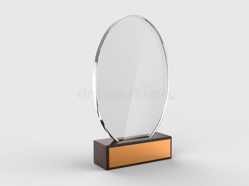 Blank glass trophy mock up stand on wooden base, 3d rendering illustration. Blank glass trophy mock up stand on wooden base, rendering illustration stock illustration