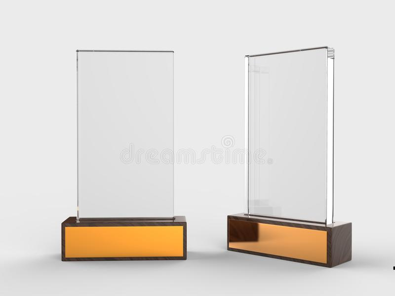 Blank glass trophy mock up stand on wooden base, 3d rendering illustration. Blank glass trophy mock up stand on wooden base, rendering illustration royalty free illustration