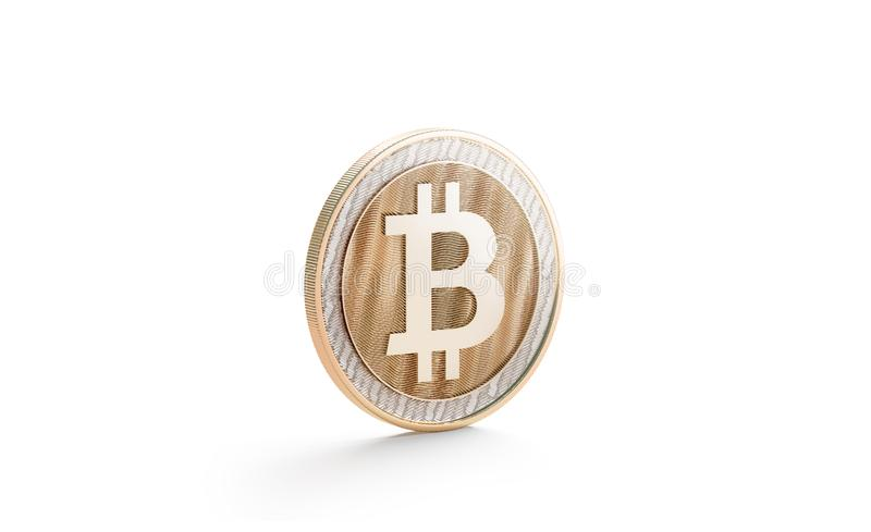 Blank gold bitcoin mock up, isolated, side view. 3d rendering. Empty golden bit coin piece of money mockup stand. Clear valuable shiner on the edge template stock illustration