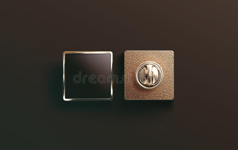 Blank gold enamel pin black mock up, front and back stock image