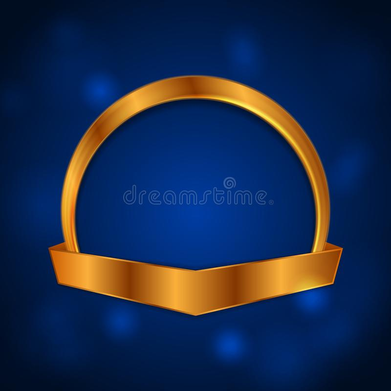 Blank golden circle frame with ribbon luxury background royalty free illustration