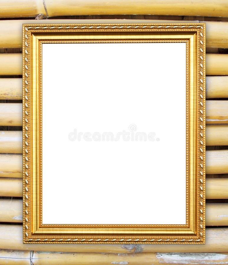 Blank Golden Frame On Colorful Bamboo Wall Stock Image - Image of ...