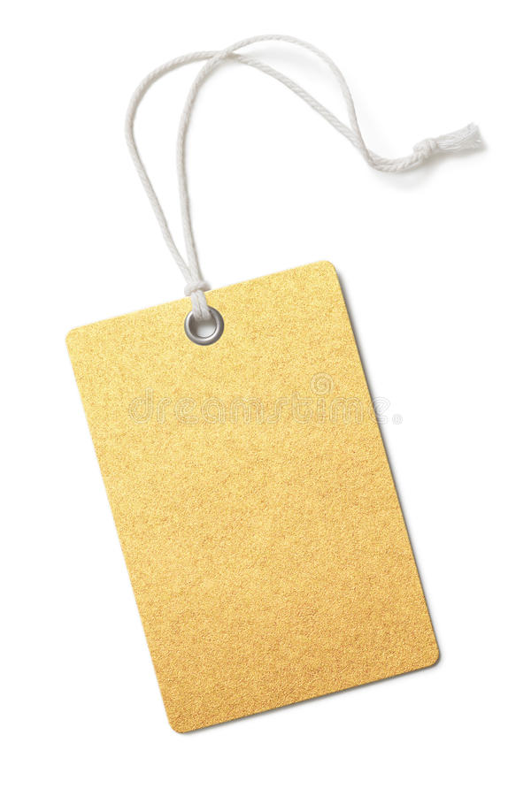 Blank golden paper price or gift tag isolated. On white royalty free stock image