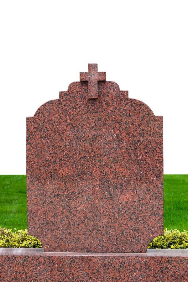Blank gravestone isolated on white stock photo