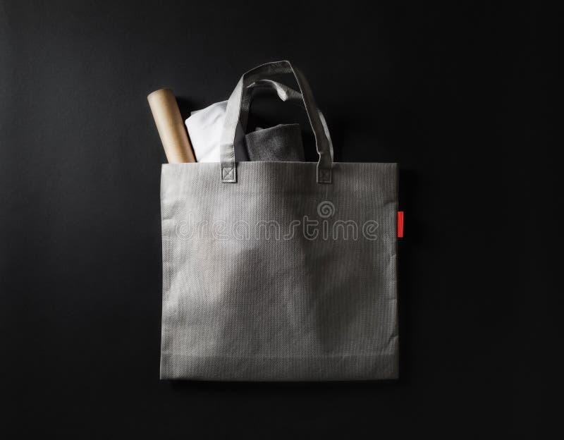 Gray shopping bag stock photography