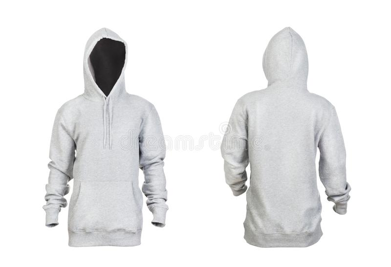 Blank gray hoodie with raised hood front and back stock photos