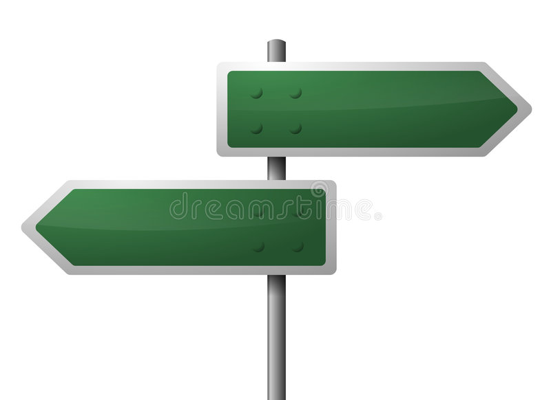 Blank green directional signs vector illustration