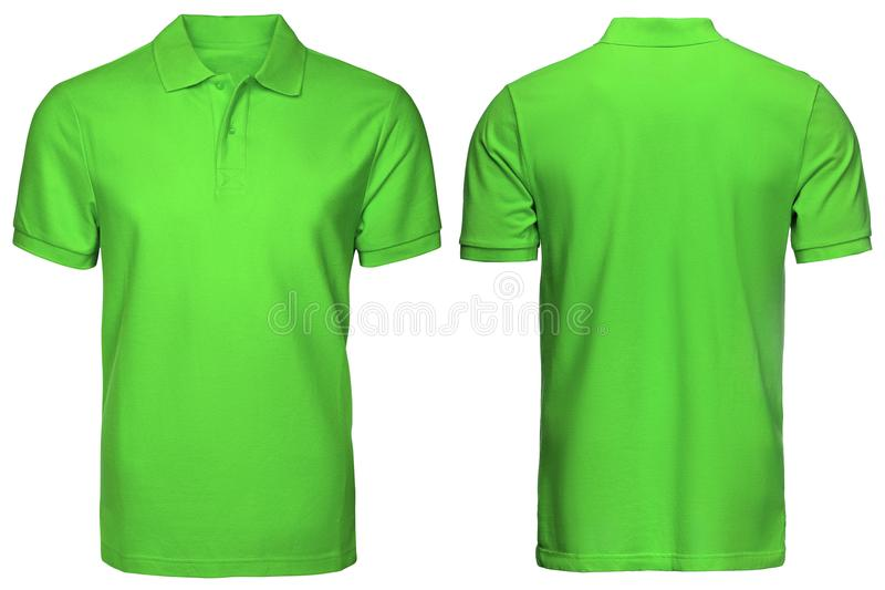 Blank green polo shirt, front and back view, isolated white background. Design polo shirt, template and mockup for print. Blank green polo shirt, front and back royalty free stock photos