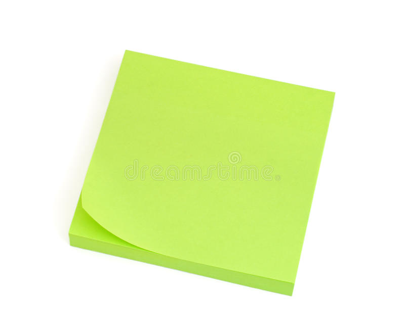 Blank Green Post-it Note. Isolated on white background stock photos