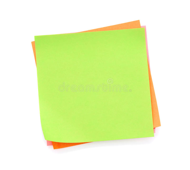 Blank green post-it note. Isolated on white background royalty free stock photo