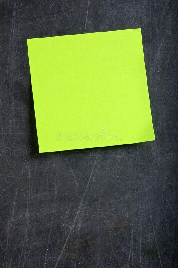 Blank Green Postit Post-it Blackboard Stock Photo