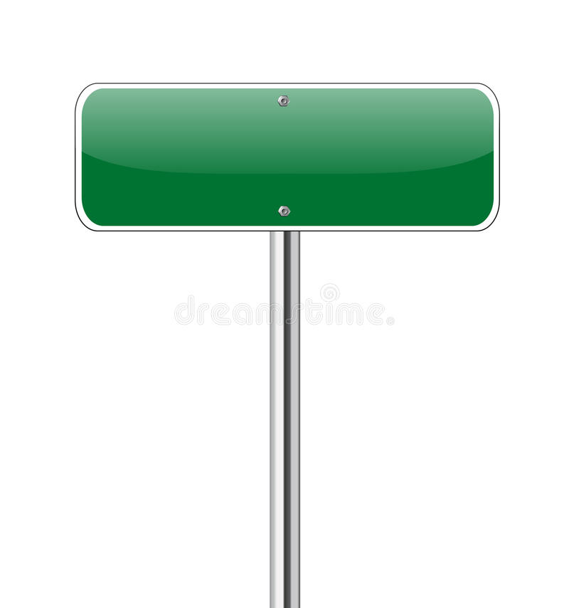 Free Blank Green Road Sign Royalty Free Stock Photos - 26628208