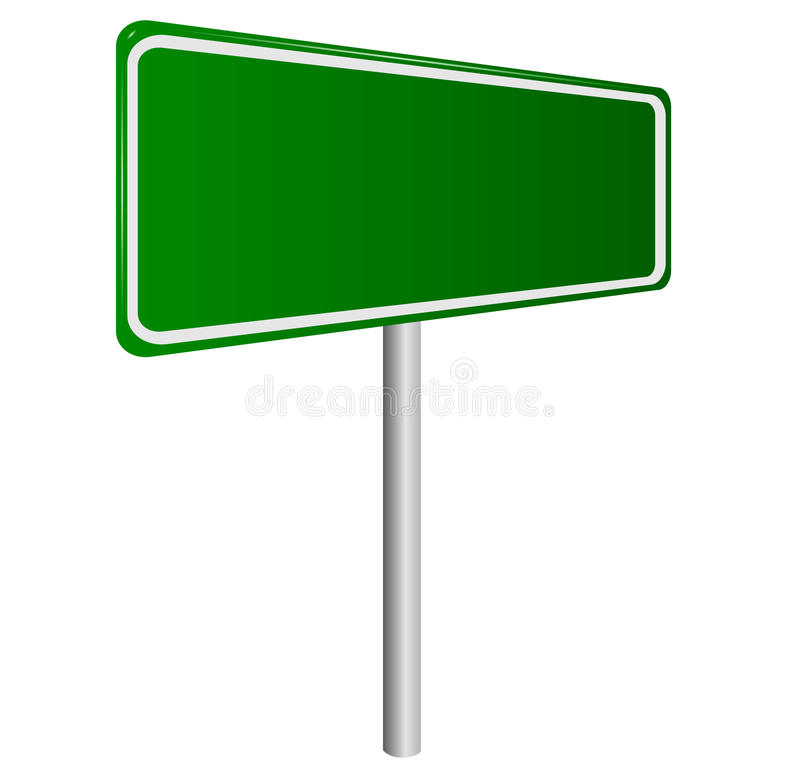 Blank Green Road Sign. Isolated on White vector illustration