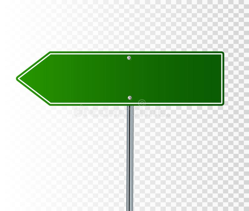 Blank Green Road Sign royalty free illustration