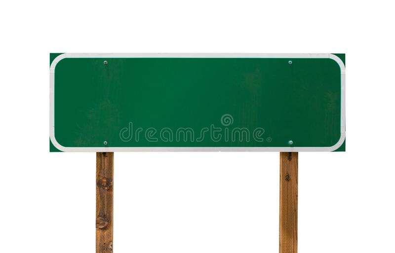 Blank Green Road Sign with Wooden Posts Isolated on a White Background stock photography