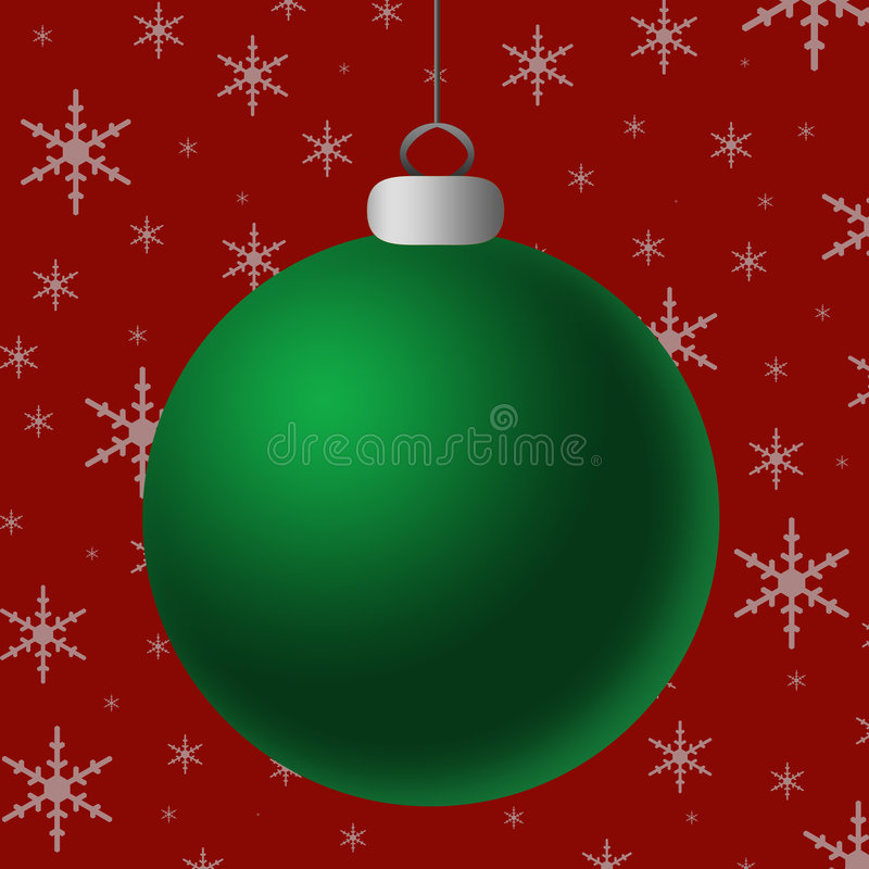 Blank Green Silver Ornament. Single shiny green ornament with silver accents hanging against a red and silver snowflake background royalty free illustration