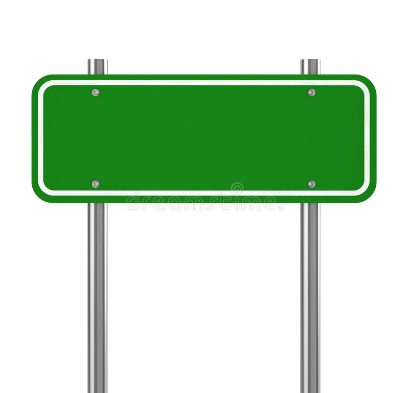 Blank green traffic road sign on white