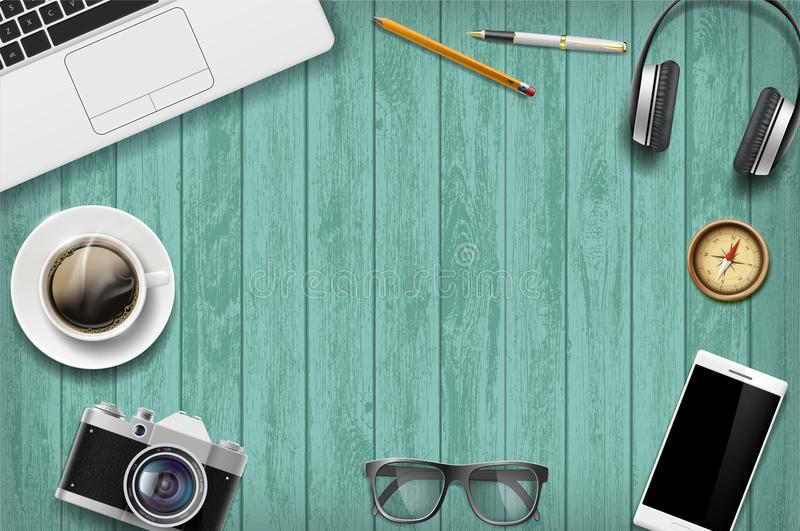 Blank green a wooden table with technology devices. Travel background. vector illustration
