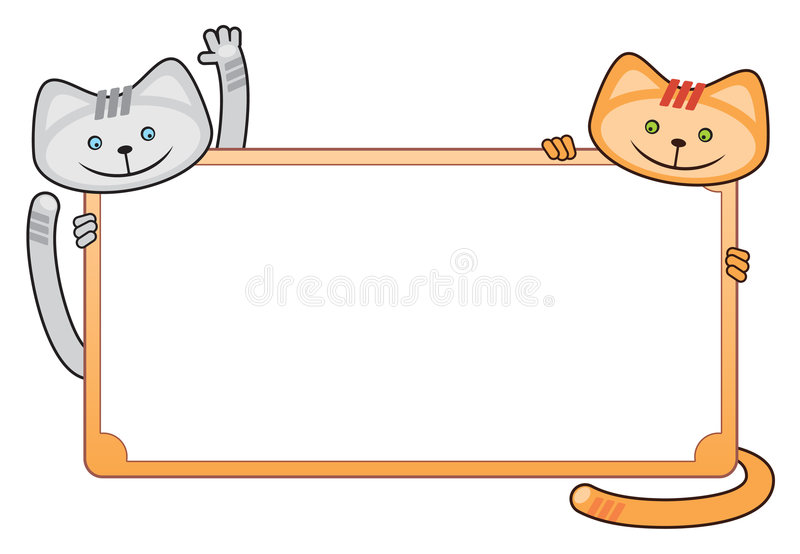 Blank Greeting card with cats, illustration stock illustration