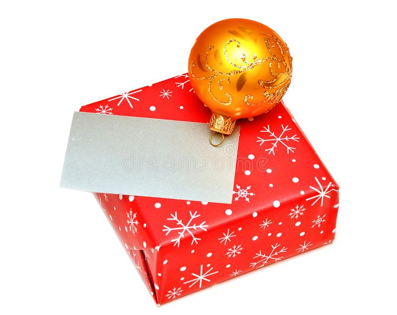 Blank Greeting Card Or Gift Card On Christmas Box Stock Image