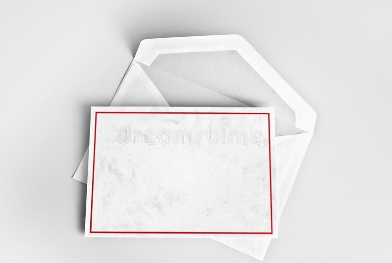 Blank greeting or thank you card with red frame over envelope royalty free stock images