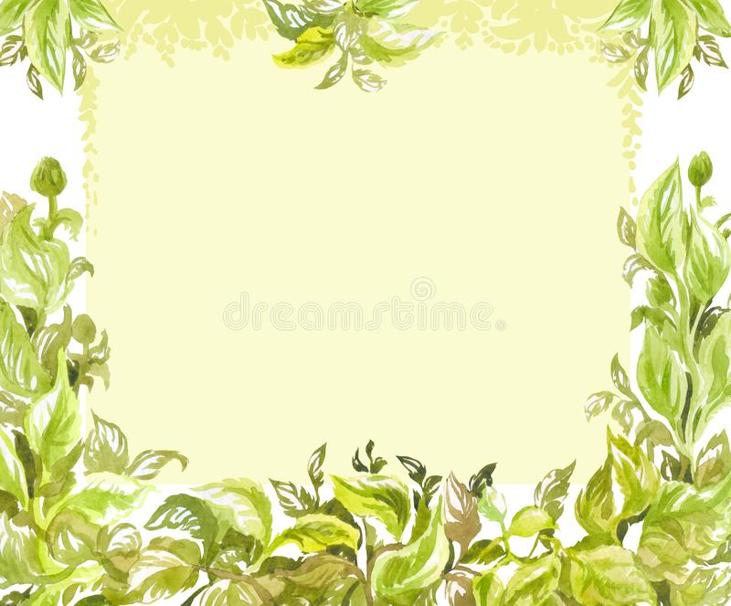 Blank for greetings, invitations or certificate. Watercolor frame of lush foliage. Spring background with empty place for text. Green watercolor background with stock illustration