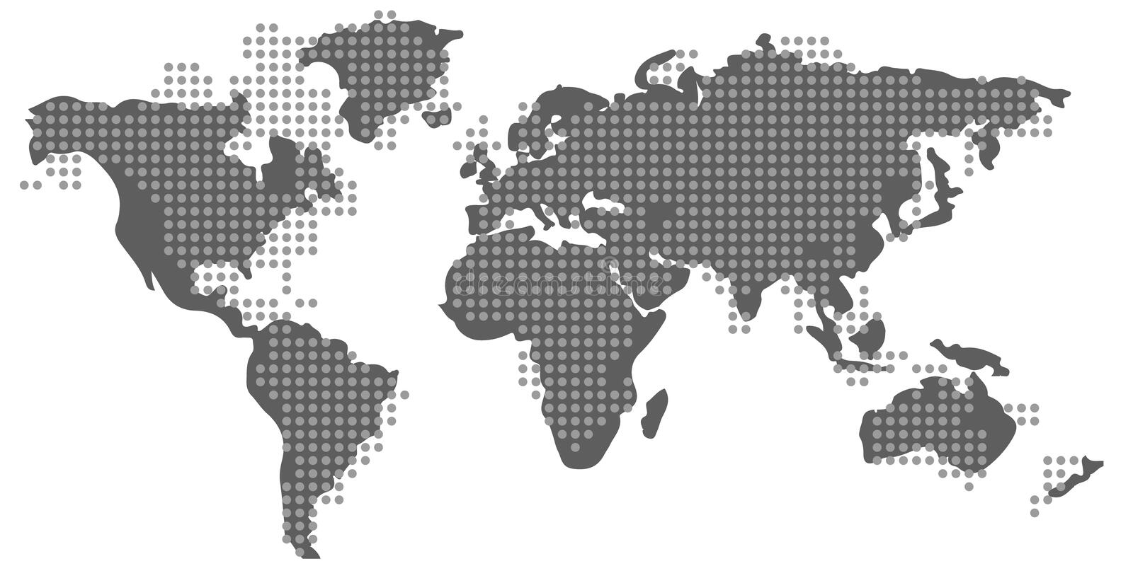 Blank grey similar World Map and dotted pattern isolated. stock illustration