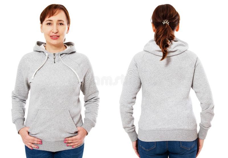 Blank grey sweatshirt mock up set isolated, front and back view. Woman wear grey hoodie mockup. Plain hoody design presentation. royalty free stock image