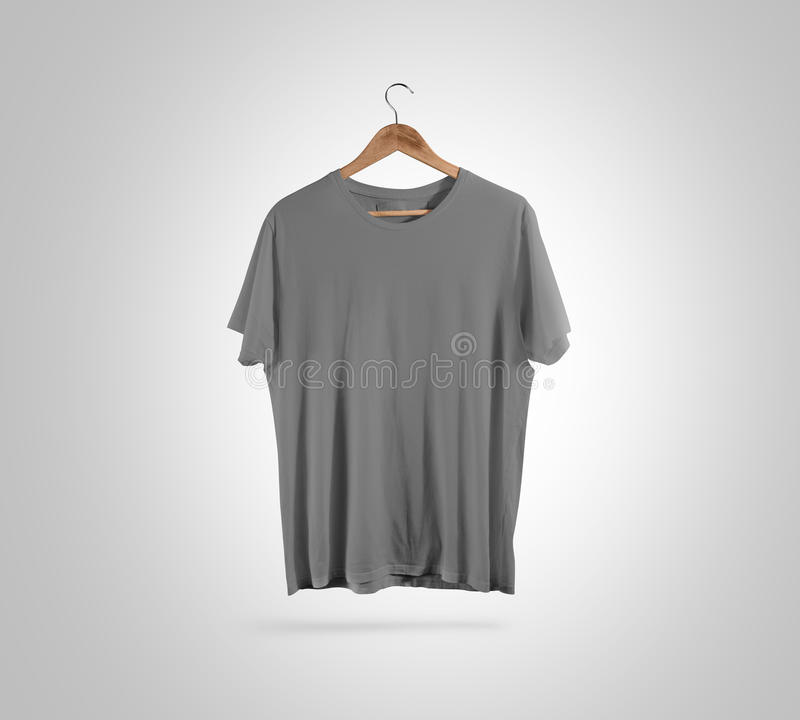 Blank grey t-shirt front hanger, design mockup, clipping path. stock photo