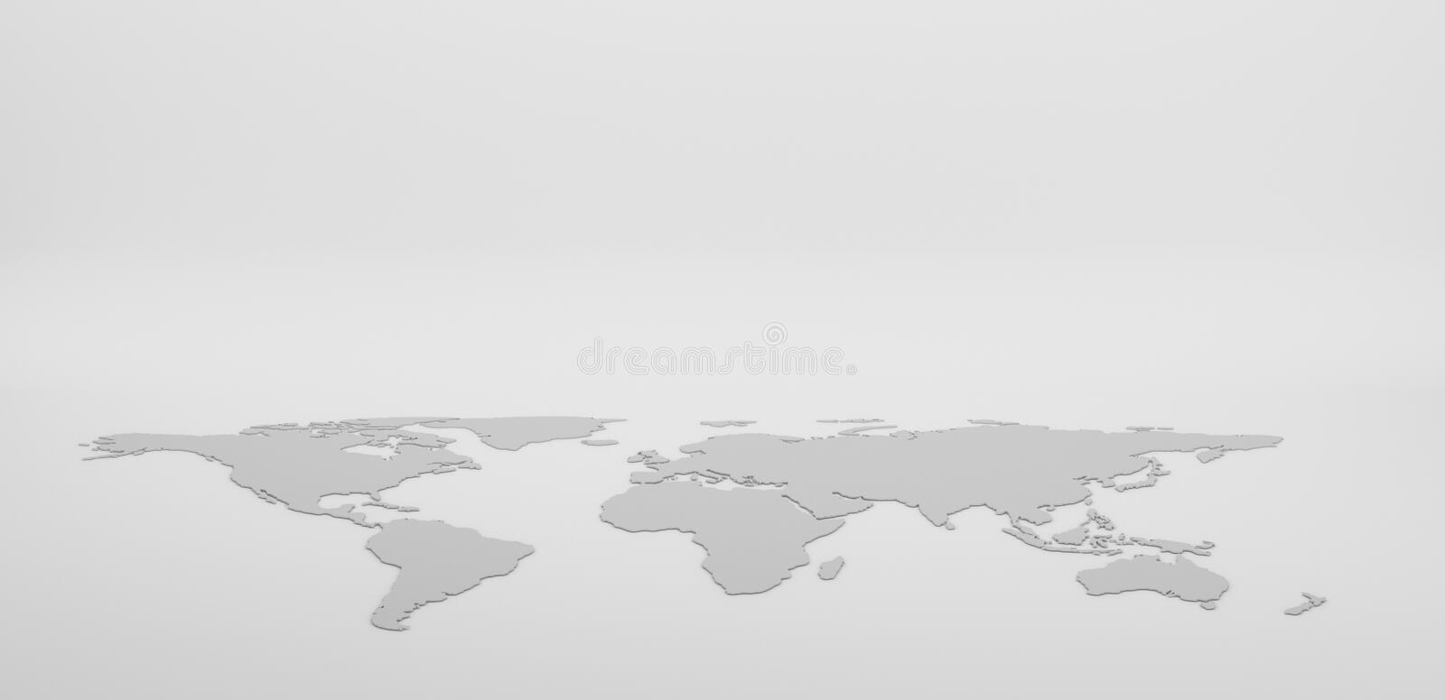 Blank Grey World map isolated on white background. infographics, illustration vector illustration