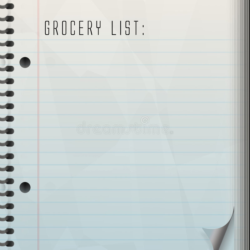 Blank Grocery List stock illustration