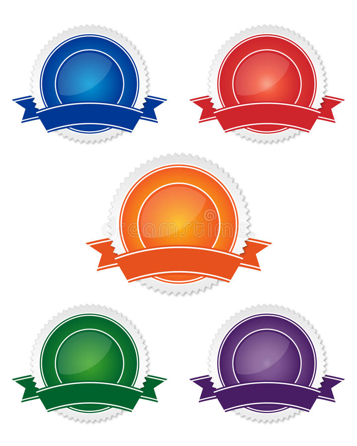 Blank guarantee sign collection. Collection of five blank guarantee sign vector illustration