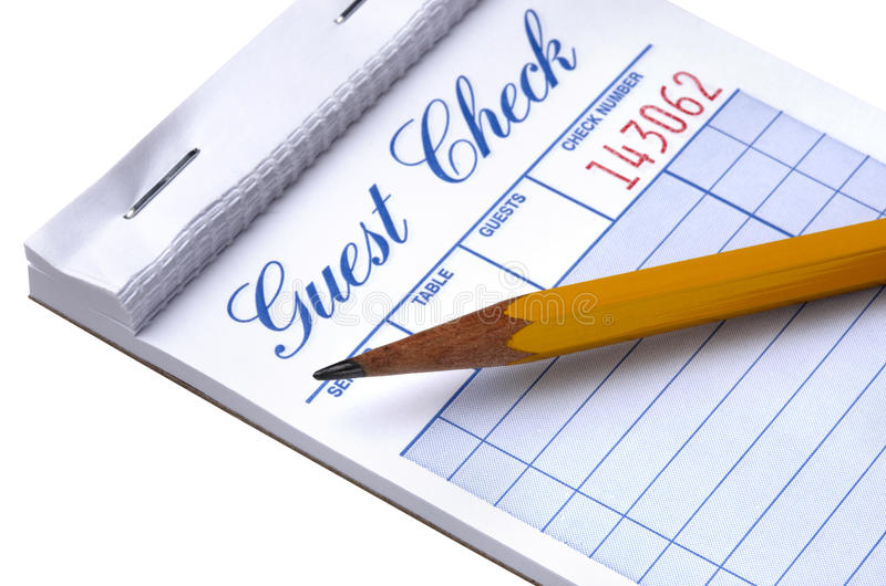 Download Blank guest check stock photo. Image of pencil, white - 10953844