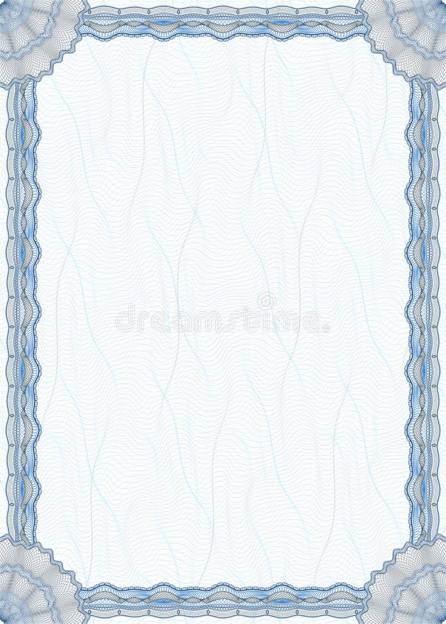 Blank guilloche border for diploma or certificate royalty free illustration
