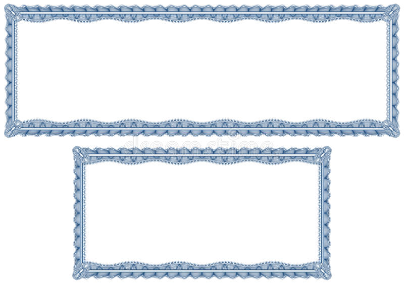 Blank guilloche borders for diploma or certificate stock illustration