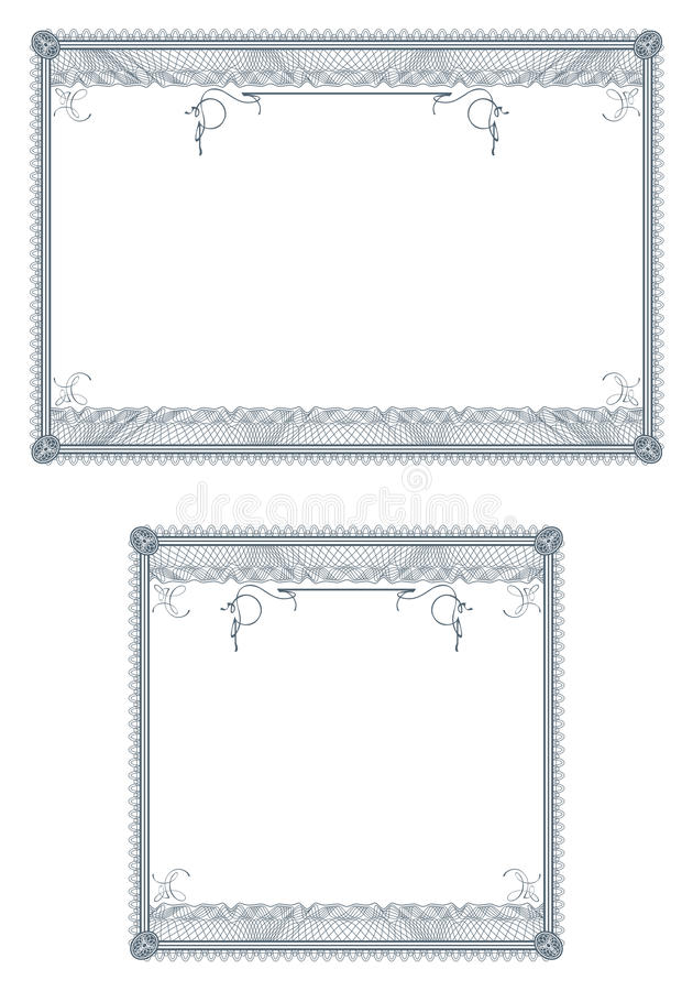 Blank guilloche borders for diploma or certificate vector illustration