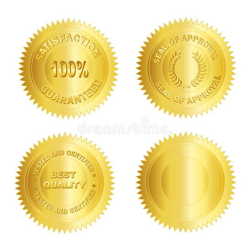blank guldmedaljskyddsremsastämpel stock illustrationer