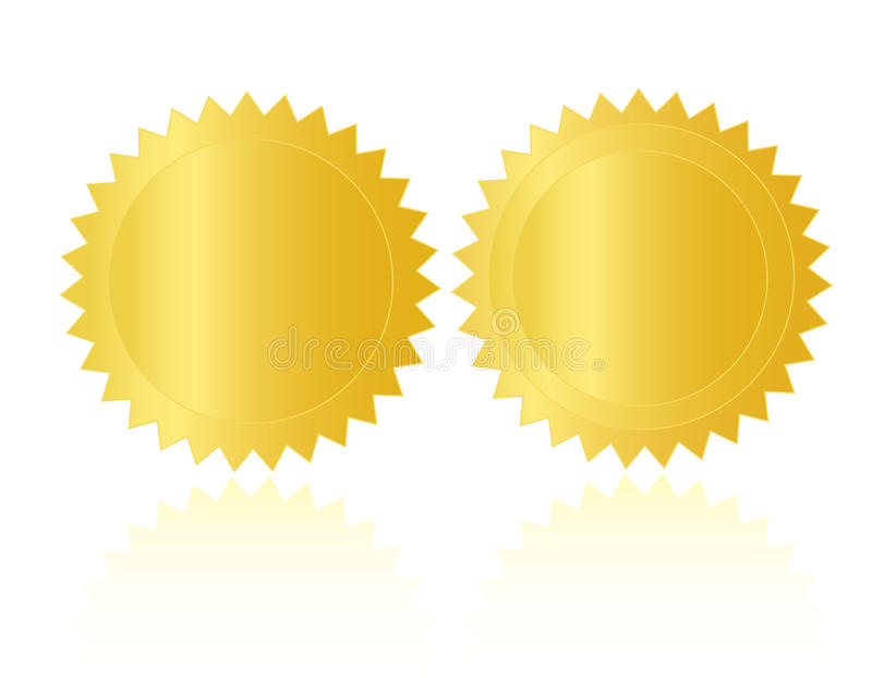 blank guldmedaljskyddsremsastämpeln stock illustrationer