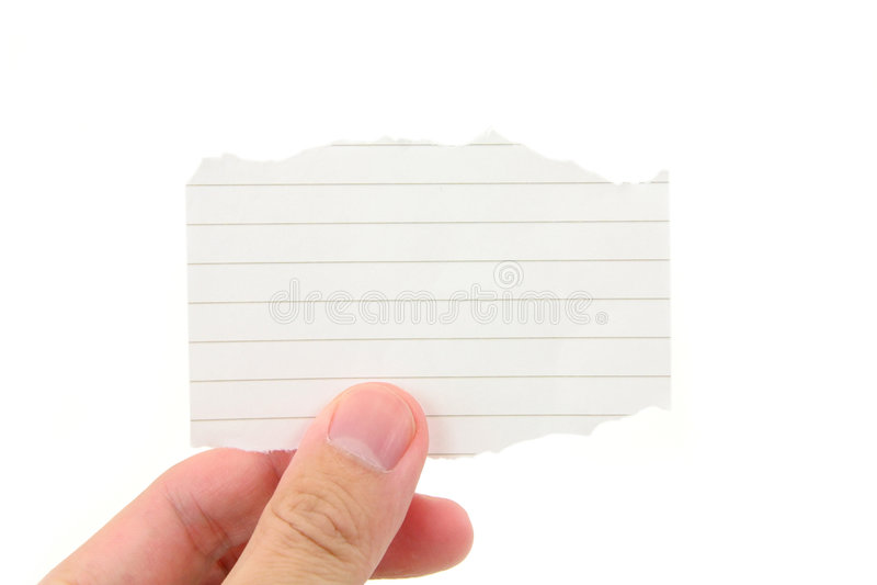 blank hand holding notepaper piece στοκ εικόνες με δικαίωμα ελεύθερης χρήσης