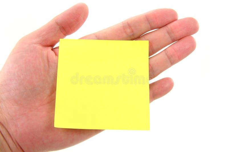 blank handnotepaperstick royaltyfri fotografi
