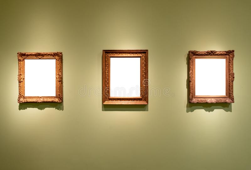 3 Blank Hanging Individual Frames In An Art Gallery Museum Stock ...