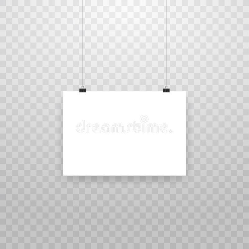 Blank hanging photo frames or poster templates isolated on transparent background. Photo picture hanging, frame paper royalty free illustration