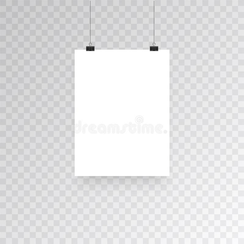 Blank hanging photo frames or poster templates isolated on transparent background. Photo picture hanging, frame paper vector illustration