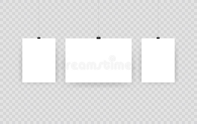 Blank hanging photo frames or poster templates isolated on transparent background. Photo picture hanging, frame paper gallery royalty free illustration