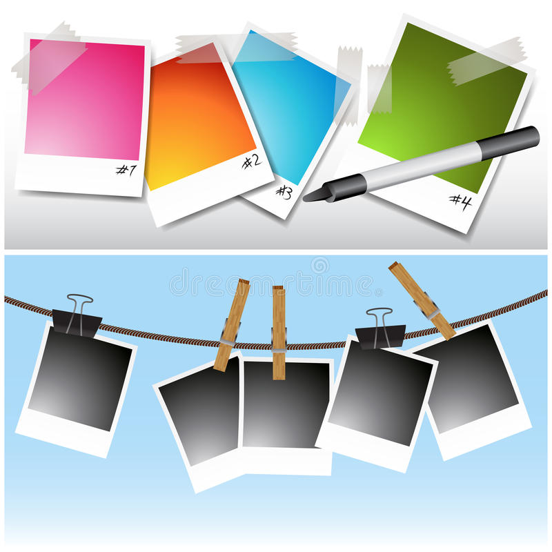 Blank hanging Photos vector illustration