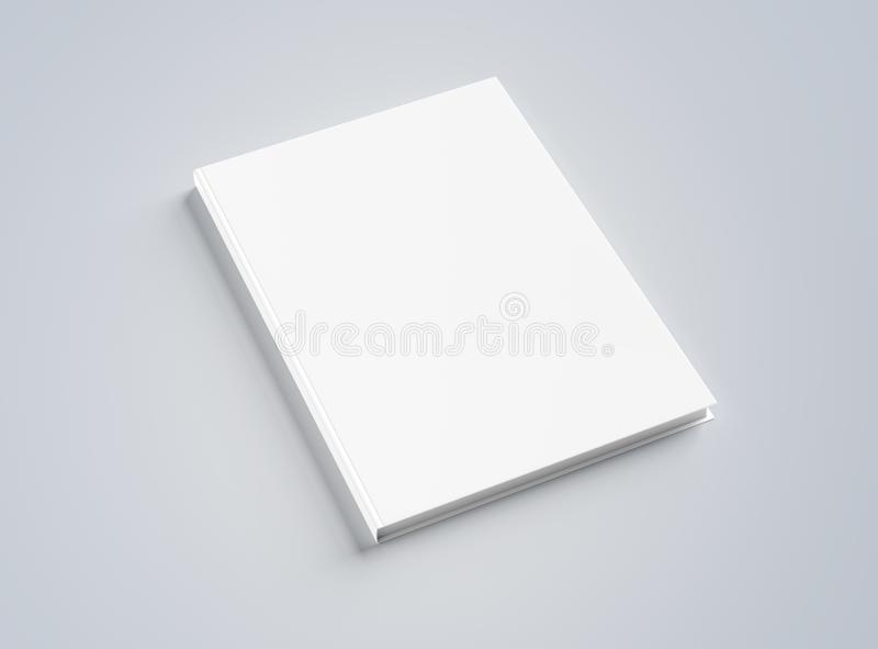 Blank hardcover book mockup on white 3D rendering royalty free illustration