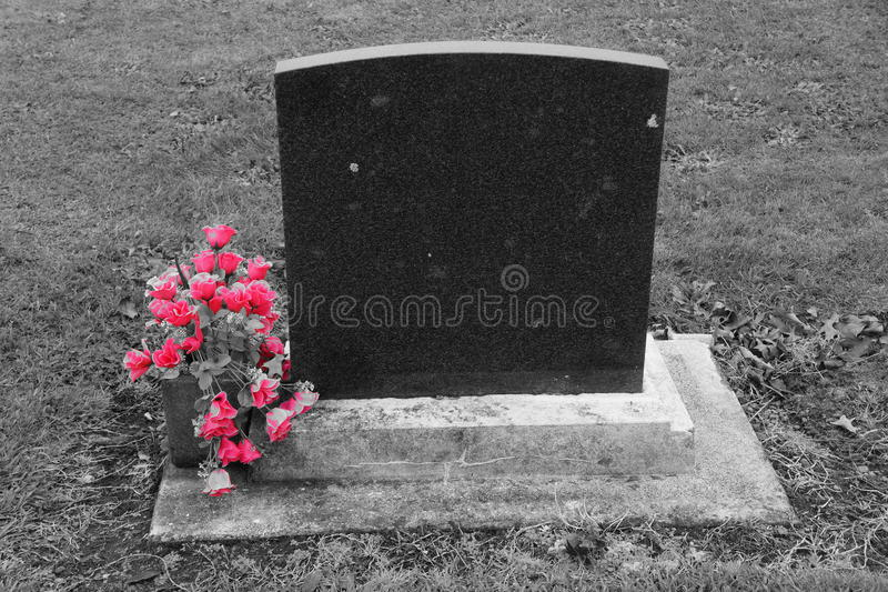Blank headstone with pink flowers stock image