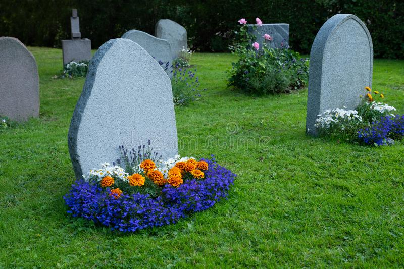A blank headstone in the private cemetry stock image